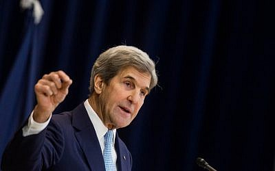 US Secretary of State John Kerry delivers a speech on Middle East peace at the U.S. Department of State on December 28, 2016 in Washington, DC. (Zach Gibson/Getty Images/AFP)