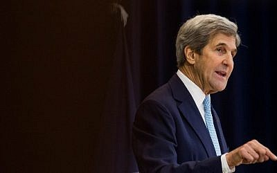US Secretary of State John Kerry delivers a speech on Middle East peace at The US Department of State on December 28, 2016 in Washington, DC.  (Zach Gibson/Getty Images/AFP)