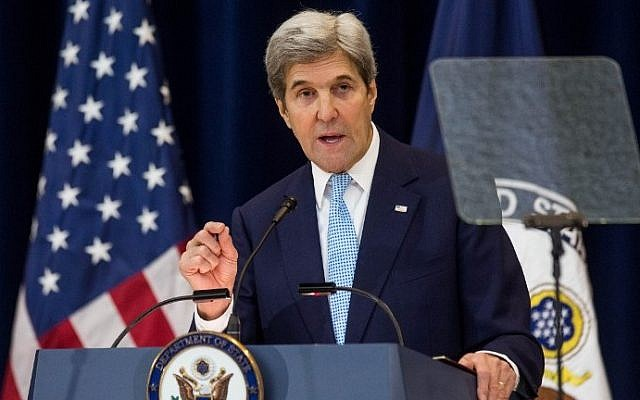 US Secretary of State John Kerry delivers a speech on Middle East peace at the U.S. Department of State on December 28, 2016, in Washington, DC. (Zach Gibson/Getty Images/AFP)