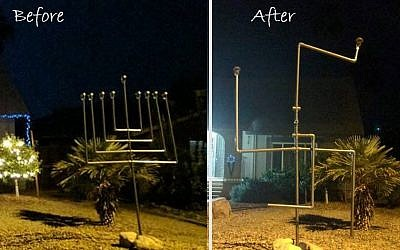 An Arizona family's menorah before and after it was vandalized and turned into a swastika, December 2016 (Facebook photo)