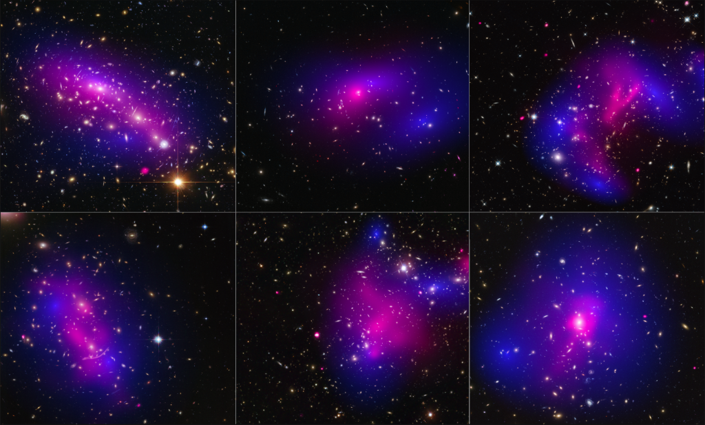Images of six different galaxy clusters taken with NASA's Hubble Space Telescope (blue) and Chandra X-ray Observatory (pink) in a study of how dark matter in clusters of galaxies behaves when the clusters collide. (CC BY NASA and ESA, Flickr)