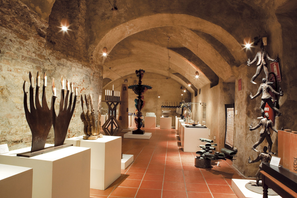 Hanukkah lamps exhibited in the Museum of the Community of Casale Monferrato, in the basement where the oven to bake Passover matzot used to stand. (Courtesy of the Jewish Community of Casale Monferrato)