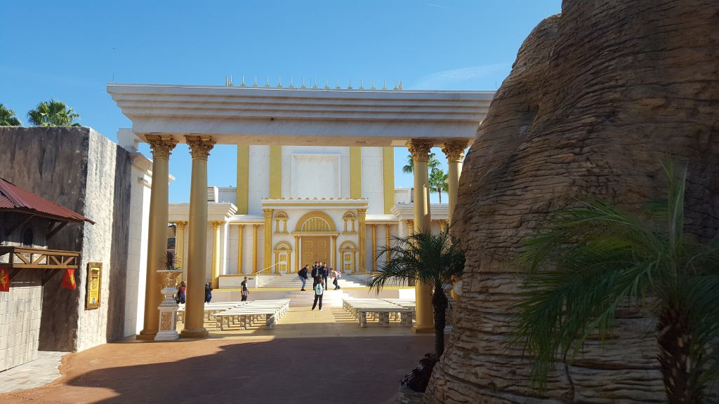 Holy Land Experience in Orlando, Florida, a Bible-themed Christian tourist attraction on December 8, 2016. The entrance to the Temple of King Solomon in Jerusalem. (Matt Lebovic/The Times of Israel)
