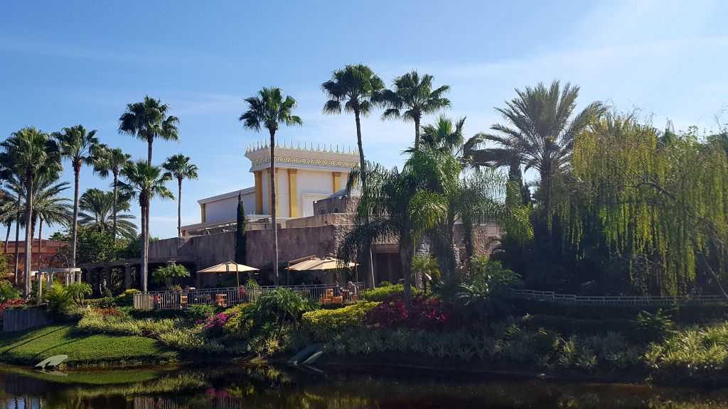 Holy Land Experience in Orlando, Florida, a Bible-themed Christian tourist attraction on December 8, 2016. King Solomon's Temple hovers above the theme park. (Matt Lebovic/The Times of Israel)