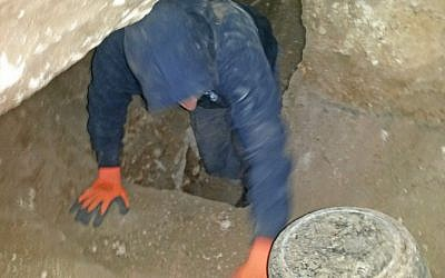Antiquities thieves exiting the burial cave in northern Israel when caught by IAA inspectors in December 2016. (Nis Distelfeld, Israel Antiquities Authority)