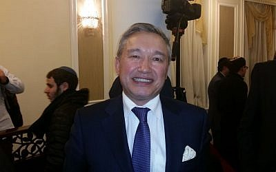 Kazakhstan's ambassador to Israel Doulat Kuanyshev (Raphael Ahren/TOI)
