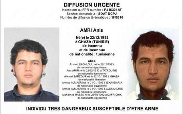 A photo sent to European police authorities and obtained by AP on December 21, 2016, showing Tunisian national Anis Amri, wanted by German police for his alleged involvement in the Berlin Christmas market attack two days earlier.  (Police via AP)
