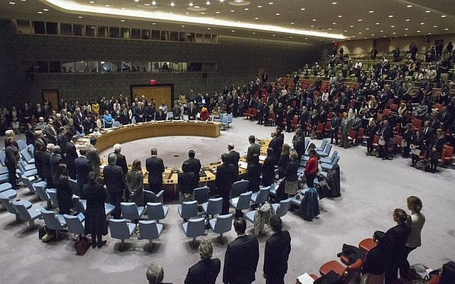 The UN Security Council. In this photo from December 20, 2016, members observe a moment of silence in memory of the Ambassador of the Russian Federation to Turkey, who was assassinated on 19 December in a terrorist attack in Ankara. (UN Photo/Manuel Elias)