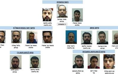 Alleged members of a Hamas terror cell operating in the area of the West Bank city of Nablus, nabbed by the Shin Bet, December 22, 2016. (Shin Bet)