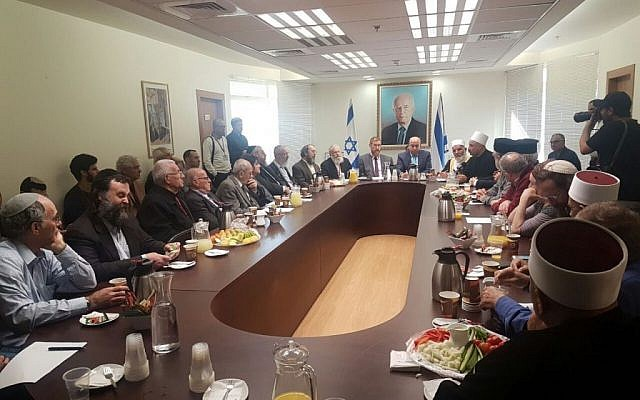 Religious leaders gather in the Knesset in a bid to convince the government to drop the so-called Muezzin Bill. December 5, 2016 (Courtesy)