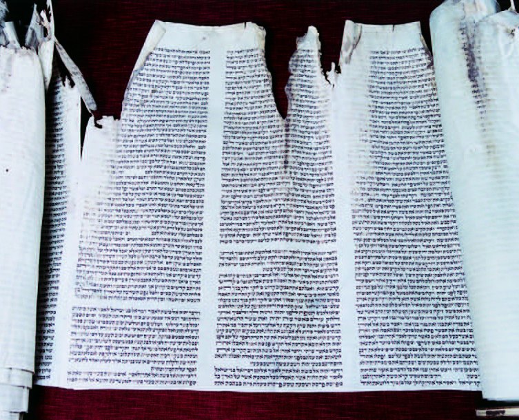 Shearith Israel Torah Scroll, vandalized by the British during the Revolutionary War. (Collection of Congregation Shearith Israel)