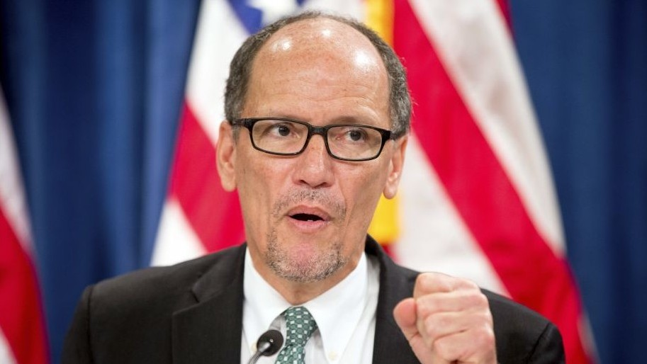 Labor Secretary Thomas Perez speaks at a news conference in Washington on June 22, 2016. Perez announced his candidacy to chair the Democratic National Committee on Thursday, Dec. 15, 2016 (AP Photo/Andrew Harnik)