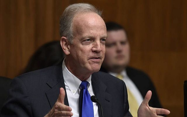 Kansas Sen. Jerry Moran (R) asks a question of Treasury Secretary Jacob Lew, on Capitol Hill in Washington, Tuesday, March 8, 2016, during a hearing of the Senate Appropriations subcommittee (Susan Walsh/AP)