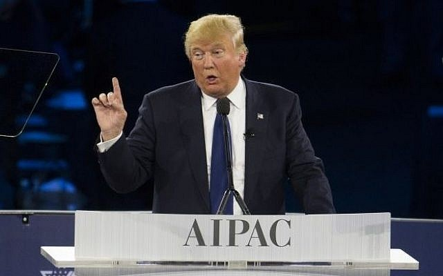 Then Republican presidential candidate Donald Trump speaks at the 2016 American Israel Public Affairs Committee (AIPAC) Policy Conference at the Verizon Center, on Monday, March 21, 2016, in Washington. (Evan Vucci/AP)