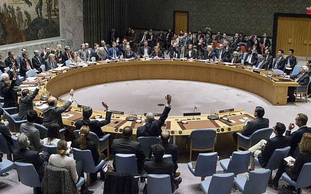 In this photo provided by the United Nations, members of the United Nations Security council vote at the United Nations headquarters on Friday, Dec. 23, 2016, in favor of condemning Israel for its practice of establishing settlements in the West Bank and east Jerusalem. In a striking rupture with past practice, the US allowed the vote, not exercising its veto. (Manuel Elias/The United Nations via AP)