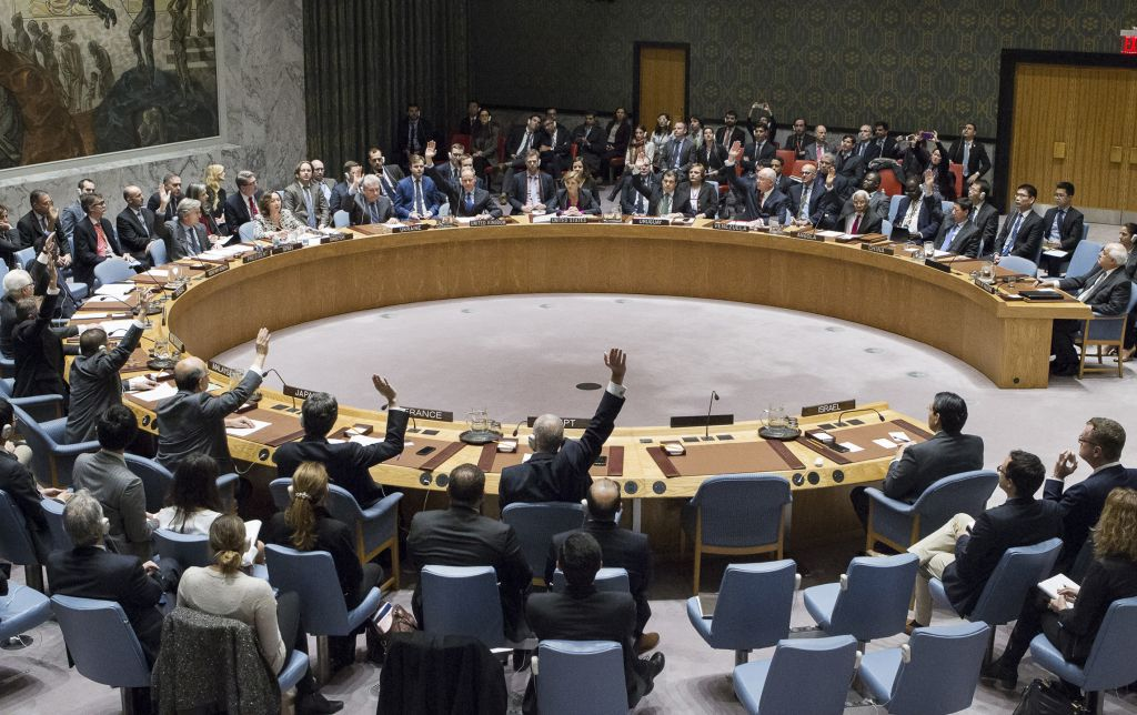 Members of the UN Security Council vote in favor of condemning Israel's settlements in the West Bank and East Jerusalem on Friday, Dec. 23, 2016 at United Nations Headquarters. (Manuel Elias/United Nations via AP)