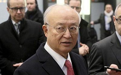 Director General of the International Atomic Energy Agency, IAEA, Yukiya Amano from Japan speaks to the media after returning from Iran at the Vienna International Airport, Austria, Monday, Dec. 19, 2016 (AP Photo/Ronald Zak)