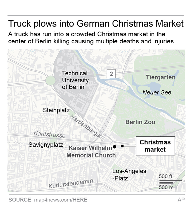 Map locates Christmas market where the truck attack happened (AP)