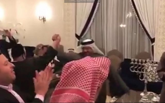 Jews and sheikhs celebrate Hanukkah in Bahrain, December 24, 2016 (Screen capture: YouTube)
