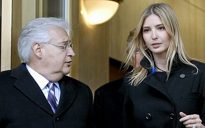 Donald Trump, center, along with his daughter Ivanka Trump, right, and attorney David Friedman, left, exit the Federal Building following their appearance in U.S. Bankruptcy Court Thursday, Feb 25, 2010 in Camden, New Jersey. (Bradley C Bower/Bloomberg News / Getty images, via JTA)