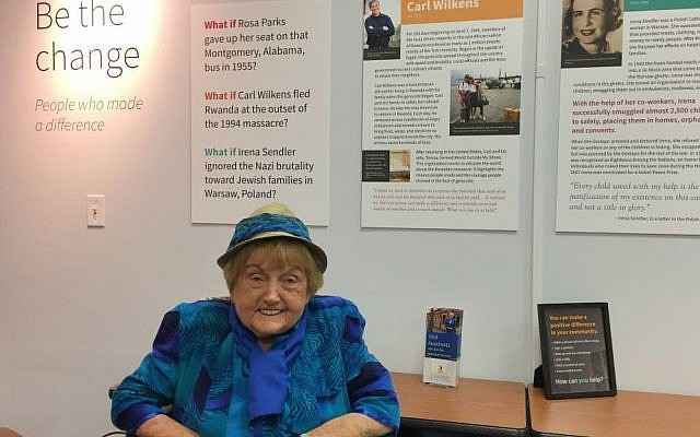 Holocaust survivor and Mengele twin Eva Mozes Kor in her Terre Haute, Indiana, CANDLES Holocaust Museum and Education Center on November 7, 2016. (Amanda Borschel-Dan/Times of Israel)