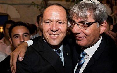 Jerusalem Mayor Nir Barkat with Deputy Mayor Meir Turgeman in Jerusalem. September 1, 2013. (Yonatan Sindel/Flash90)