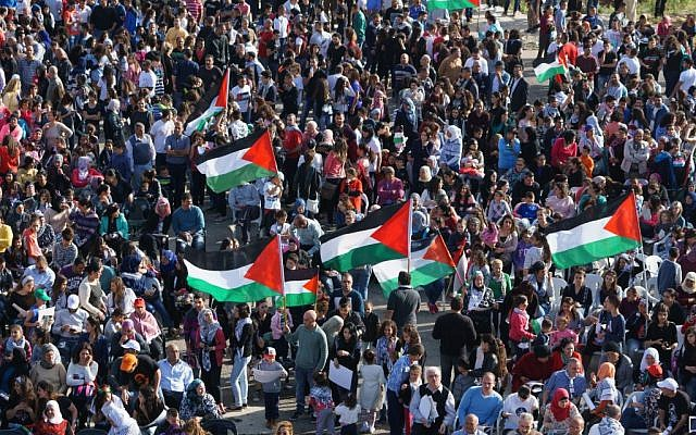 Illustrative photo of Arab Israelis during a protest in northern Israel on March 30, 2015. (Basal Awidat/Flash90)