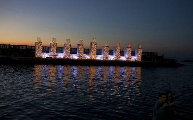 The giant, illuminated hanukkiah at Tel Aviv's port in 2015 (Lior Mizrahi/Flash 90)