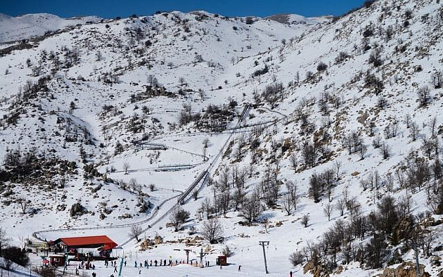 Illustrative photo of the Mount Hermon ski resort, on the Golan Heights, February 3, 2016. (Mendy Hechtman/Flash90)