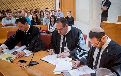 Illustrative photo of Israeli lawyers at the Supreme Court in Jerusalem.  July 5, 2016. (Yonatan Sindel/Flash90)