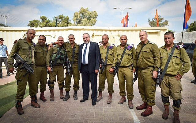 Illustrative. Israeli Minister of Defense Avigdor Liberman visits the IDF Bedouin Desert Reconnaissance Battalion army base on July 26, 2016. (Ariel Hermoni/Ministry of Defense)
