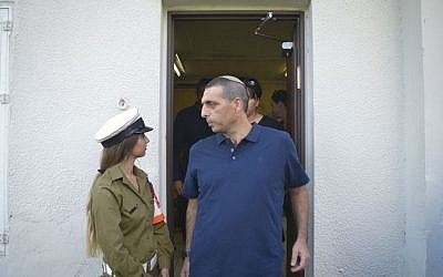 Ofek Buchris, the former IDF brigadier general accused of rape and other sexual crimes against subordinates, seen at the Jaffa military court on September 29, 2016. (Flash90)