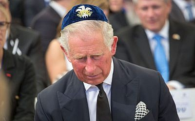 Prince Charles seen during the funeral late former President Shimon Peres at Mount Herzl, in Jerusalem, on September 30, 2016. (Emil Salman/Pool)