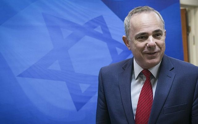 Energy Minister Yuval Steinitz arrives for the weekly cabinet meeting at PM Netanyahu's office, Jerusalem, October 30, 2016. (Ohad Zwigenberg)