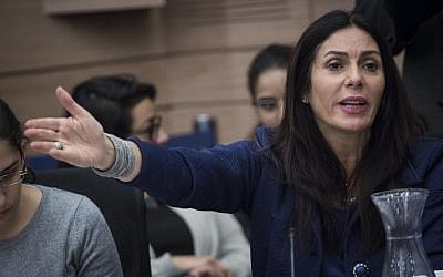 Culture and Sport Minister Miri Regev participates in a meeting of the Knesset Finance Committee on November 30, 2016 (Hadas Parush/Flash90)