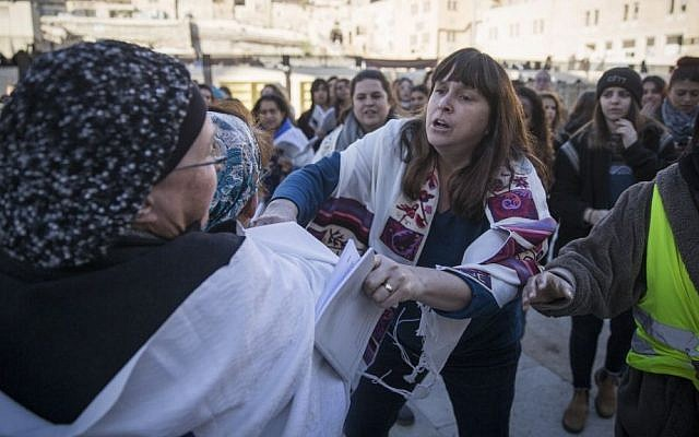 Ultra-Orthodox women protest against the Women of the Wall movement during a prayer service at the Western Wall on December 1, 2016. (Hadas Parush/Flash90)
