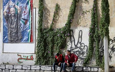 A poster of Marwan Barghouti hangs in the West Bank city of Nablus, December 7, 2016. (Nasser Ishtayeh/Flash90)