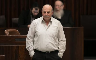 Jewish Home MK Nissam Slomiansky seen during a vote on the so-called Regulation Bill, a controversial bill that seeks to legitimize illegal West Bank outposts, in the Israeli parliament on December 7, 2016. (Yonatan Sindel/Flash90)