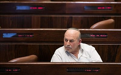 Jewish Home MK Nissan Slomiansky during a vote on the so-called Regulation Bill to legitimize illegal West Bank outposts, December 7, 2016. (Yonatan Sindel/Flash90)