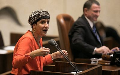 Jewish Home MK Shuli Moalem-Refaeli speaks during a vote on the so-called Regulation Bill on December 7, 2016. (Yonatan Sindel/Flash90)