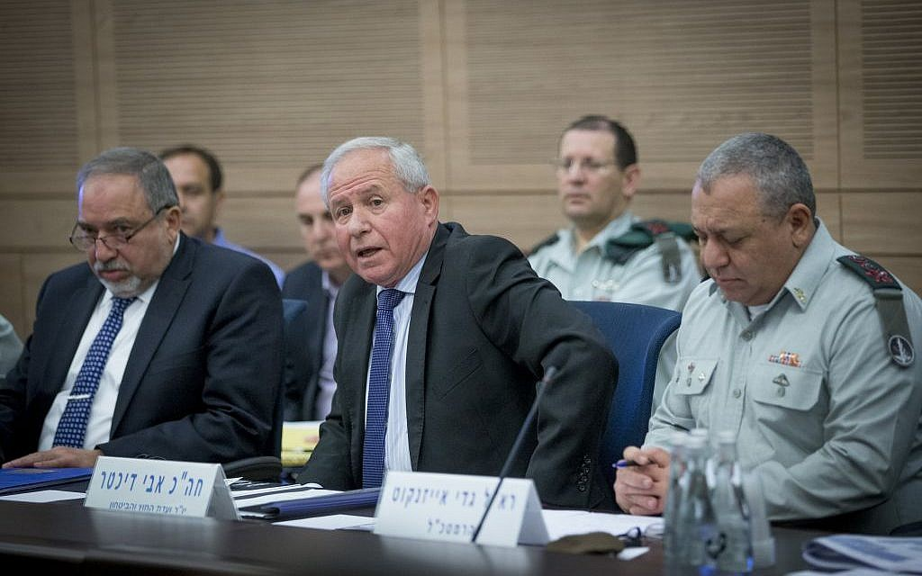 L-R: Defense Minister Avigdor Liberman, Likud MK Avi Dichter and IDF Chief of Staff Gadi Eisenkot attend a meeting of the Foreign Affairs and Defense Committee at the Knesset on December 8, 2016. (Photo by Yonatan Sindel/Flash90)