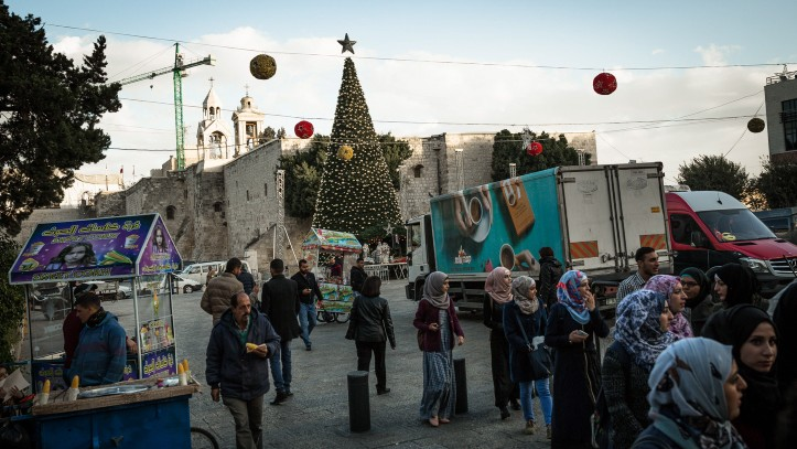 Christmas preparations in Manger Square on November 31, 2015. Muslims now account for 88 percent of Bethlehem's residents.(Sebi Berens/Flash90)