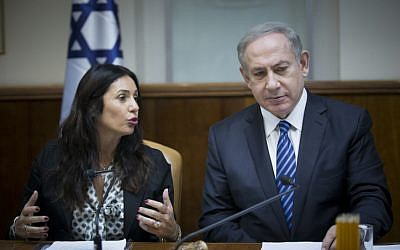 Prime Minister Benjamin Netanyahu and Culture and Sports Minister Miri Regev (L) attend the weekly cabinet meeting in Jerusalem on December 11, 2016. (Yonatan Sindel/Flash90)