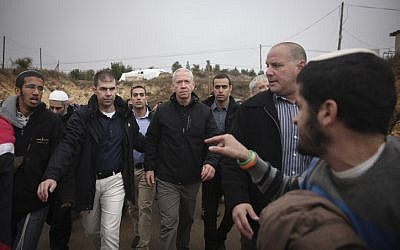 Housing Minister Yoav Galant visits the Jewish settlement of Amona in the West Bank, on December 18, 2016. (Miriam Alster/Flash90)