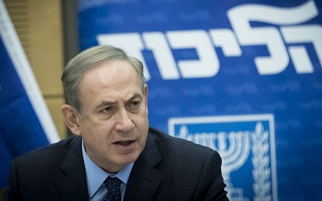 Prime Minister Benjamin Netanyahu leads a Likud party meeting at the Knesset, in Jerusalem, December 19, 2016. (Yonatan Sindel/Flash90)