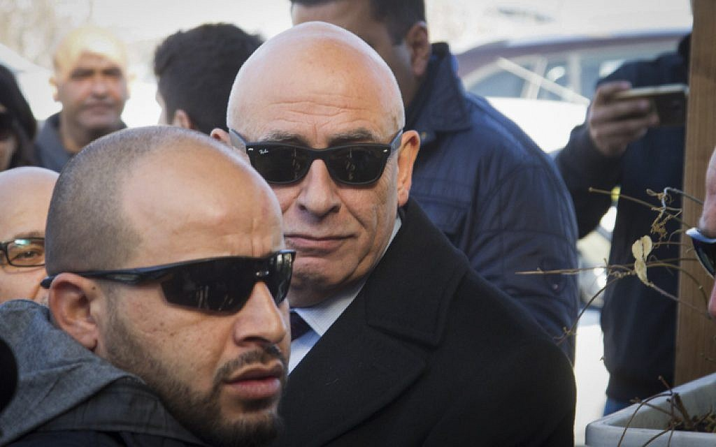 Joint (Arab) List MK Basel Ghattas arrives at the Lahav 433 investigation unit in Lod, December 20, 2016. (Roy Alima/Flash90)