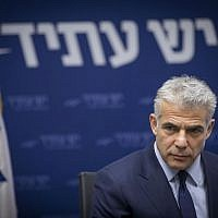 Yesh Atid leader Yair Lapid leads a party faction meeting at the Knesset on December 26, 2016. (Photo by Yonatan Sindel/Flash90)