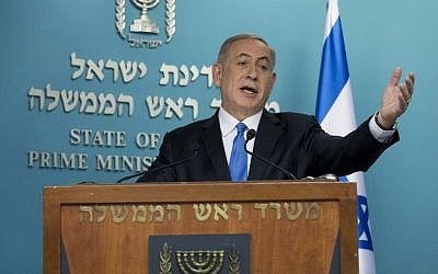 Prime Minister Benjamin Netanyahu delivers a statement to the press in response to US Secretary of State John Kerry's speech, December 28, 2016. (Yonatan Sindel/Flash90)