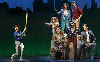 "Clockwise from left: Anthony Rosenthal, Betsy Wolfe, Tracie Thoms, Christian Borle, Andrew Rannells, Brandon Uranowitz and Stephanie J. Block performing in the musical ""Falsettos."" (Joan Marcus/via JTA)"