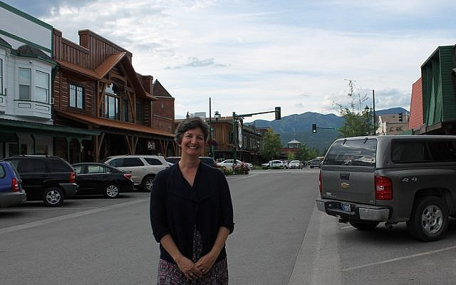 Rabbi Francine Green Roston, a member of Love Lives Here, a local anti-discrimination group, moved to Whitefish, Mont., with her family from New Jersey in 2014. (Uriel Heilman/JTA)